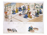 Japanese Marriage: the Two Families Meeting, with Mediator, C.1820 (Colour Litho) Giclee Print by  Japanese