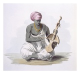 A Sarinda, or Hindostan Type Violin, from 'Costumes of India' by E. Orme, 1804 (Coloured Etching) Giclee Print by Franz Balthazar Solvyns
