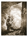 Acting-Sergeant Raynes Putting His Smoke-Helmet on Sergeant Ayres Giclee Print by Alfred Pearse