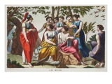 The Muses, Book V, Illustration from Ovid's Metamorphoses, Florence, 1832 (Hand-Coloured Engraving) Giclee Print by Luigi Ademollo
