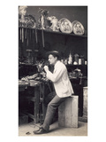 Alfred Gilbert in His Studio (B/W Photo) Giclee Print by Frederick Hollyer