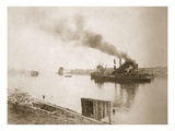 Dredger at Work, Ellesmere Port (Sepia Photo) Giclee Print by Thomas Birtles