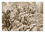 Temporary Second Lieutenant T.E. Adlam, Though Wounded, Leads His Men in a Dashing Attack Giclee Print by Howard K. Elcock