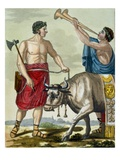 Sacrifice of a Bull, Illustration from 'L'Antique Rome', Engraved by Labrousse, Published 1796 Giclee Print by Jacques Grasset de Saint-Sauveur