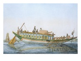 Badjera, a Cabined River Craft with a Large Paddle Rudder Giclee Print by Franz Balthazar Solvyns