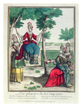 The Country's Pleasures, 2nd Half of 17th Century (Colour Engraving) Giclee Print by  French