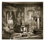 Decorative Trade Stand at Dorland Hall with Hanging Textile, 1940S (B/W Photo) Giclee Print by  English Photographer