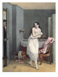 Woman Getting Out of Her Bath, C.1825 (Colour Litho) Giclee Print by  French
