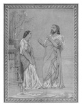 Theophile Gautier and Maria Favart, Sketch for the Painting 'Rehearsal of 'The Fluteplayer' Giclee Print by Gustave Clarence Rodolphe Boulanger