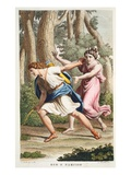 Echo and Narcissus, Book III, Illustration from Ovid's Metamorphoses, Florence, 1832 Giclee Print by Luigi Ademollo