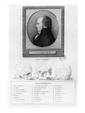 Portrait of Franz Josef Gall (1578-1829) and Illustration of the Craniological System Giclee Print by  French