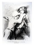Marie and Germain from 'The Devil's Pool' by George Sand, 1851 (Engraving) Reproduction procédé giclée par Tony Johannot