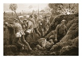 Second-Lieutenant Hallowes Encouraging His Men as He Lay Mortally Wounded (Litho) Giclee Print by H. Ripperger