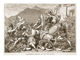 Aristomenes Fighting His Way Out of Ira (Litho) Giclee Print by  English
