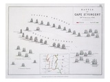 Plan of the Battle of Cape St. Vincent, 14th February 1797, C.1830S (Engraving) Reproduction proc&#233;d&#233; gicl&#233;e par Alexander Keith Johnston