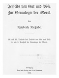 Title Page of 'Jenseits Von Gut Und Bose' and 'Zur Genealogie Der Moral' Giclee Print by  German