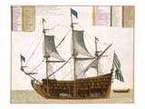 Section Through a French First-Rate Ship of 104 Cannon, from 'Le Naptune Francois', C.1693-1700 Giclee Print by Pierre Mortier