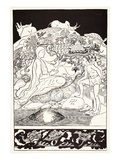 Pau Amma the Crab Running Away While the Eldest Magician Was Talking to the Man and His Little Girl Giclee Print by Joseph Rudyard Kipling