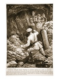 Lieutenant Morland Making Prisoners of Eighteen Germans in a Mine at Givenchy (Litho) Giclee Print by H. Ripperger