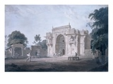 Gate Leading to a Mosque, Chunargarh, Uttar Pradesh (Coloured Aquatint) Giclee Print by Thomas Daniell