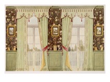 Elegant Drawing Room Curtains with Elaborate Pelmet (Colour Litho) Giclee Print by Richard Goulburn Lovell