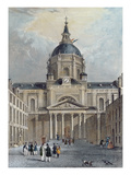 The Courtyard of the Sorbonne, Mid 19th Century (Colour Engraving) Premium Giclee Print by Emile Rouergue