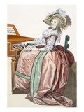 The Virtuosa in a Dress 'A L'Anglaise' with a Marlborough Border and a Half-Balloon Hat Lámina giclée por Francois Louis Joseph Watteau