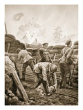 Corporal Burt Wrenching Out the Fuse of a German Bomb Which Had Fallen into His Trench (Litho) Giclee Print by H. Ripperger