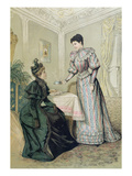 Ladies Drinking Tea. C.1890 (Colour Litho) Giclee Print by  French