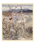 Then They Went Hand in Hand in the Country That Smells of Apple-Blossom and Honey Gicleetryck av Arthur Rackham