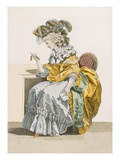 An Anxious Lady Looks at Her Watch Dressed in Morning Dress and Headwear a La Marlborough Giclee Print by Francois Louis Joseph Watteau