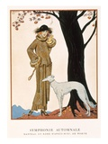 Autumnal Symphony, Afternoon Coat and Dress by Worth, from 'Gazette De Bon Ton' No.9, 1922 Giclee Print by Georges Barbier