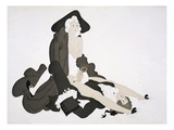 Half Naked Woman in Highwayman's Cloak Straddles a Man, C.1928 (Coloured Etching) Premium Giclee-trykk av Charles Martin