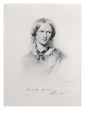 Portrait of Charlotte Bronte, Engraved by Walker and Boutall (Engraving) Gicléetryck av George Richmond