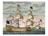 Royal (Flagship) of the English Fleet, Flying the Royal Standard, from 'Le Naptune Francois' Giclee Print by Pierre Mortier