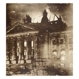 The Reichstag on Fire, 27th February 1933 (Sepia Photo) Giclee Print by  German photographer