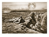 Lance-Corporal Tombs Dragging Back a Severely Wounded Man by Means of a Rifle-Sling Giclee Print by W. Avis