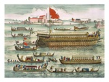 Types of Named Shipping of the Venetians, in the Lido, 1693 (Colour Litho) Giclee Print by Pierre Mortier