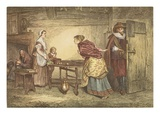 Royalists Seeking Refuge in the House of a Puritan, Engraved by J.D. Cooper (Coloured Engraving) Reproduction procédé giclée par Marcus Stone