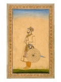 An Officer, Standing, with Sword and Shield, from the Small Clive Album, C.1600 Giclee Print by Mughal