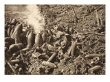 Struck by Enemy Bombs- Ammunition Store at Bantheville (B/W Photo) Giclee Print by  German photographer