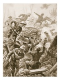 Sergeant R. Downie Attacks and Kills a Gun Team, and Captures the Gun (Litho) Giclee Print by Alfred Pearse