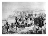 Napoleon (1769-1821) Arriving on the Island of Elba, 1814 (Litho) (B/W Photo) Giclee Print by  French
