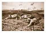 Corporal Brown and Lance-Corporal Dobson Dragging a Wounded Man across the Open Giclee Print by Alfred Pearse