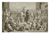 Solomon Eagle Preaching During the Plague of London, Engraved by J. and G.P. Nicholls (Engraving) Giclee Print by Paul Falconer Poole