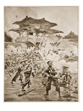 The Chino-Japanese War, the Battle of Ping Yang: a Struggle for the Outlying Forts Giclee Print by Ernest Prater