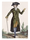 Gentleman in Green Coat, Plate from 'Galeries Des Modes Et Costumes Francais', C.1778-87 Giclee Print by Pierre Thomas Le Clerc