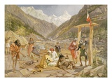 Pilgrims at Gangootree, from 'India Ancient and Modern', 1867 (Colour Litho) Giclee Print by William 'Crimea' Simpson