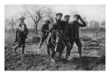 Camaraderie: English Prisoners with a Wounded German on the Way to Casualty Collection Point Giclee Print by  German photographer