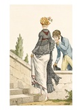 Elegant Lady's Walking Dress with Check Cape, 1789 Giclee Print by Philibert Louis Debucourt